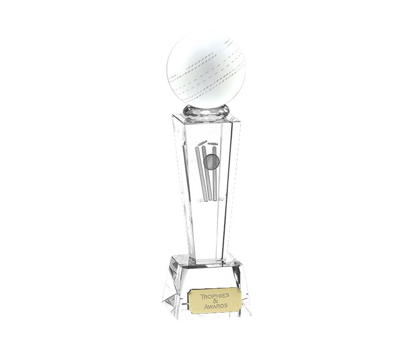 "3D Cricket Ball on Crystal Glass Riser Award 18cm (7"")"