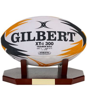 "Rugby Ball Presentation Display Rosewood Stand 27cm x 16cm x 9cm (10.5"" x 6.25"" x 3.5"")"