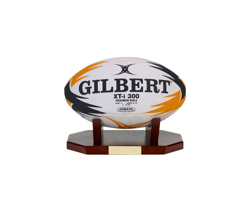 "Rugby Ball Presentation Display Rosewood Stand 27cm x 16cm x 9cm (10.5"" x 6.25"" x 3.5"")"