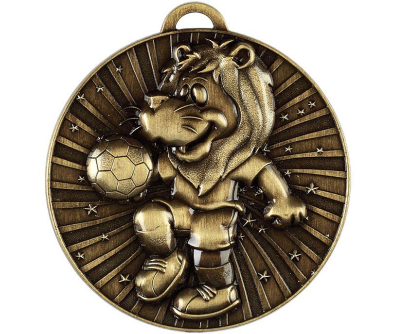 """Football Kids Lion Medal Antique Gold 50mm (2"""")"""