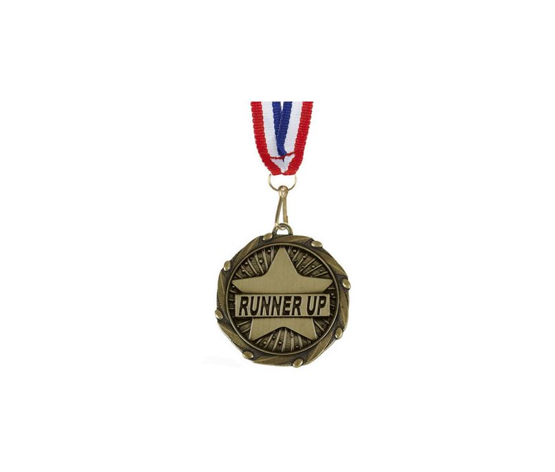 "Runner Up Gold Medal with Red, White & Blue Ribbon 45mm (1.75"")"