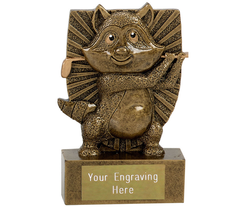 "Novelty Golf Award Ronnie The Racoon Antique Gold 11cm (4.25"")"