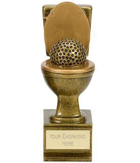 """Novelty Toilet Golden Flush Golf Award Antique Gold 15cm (6"""")"""