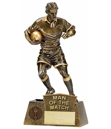 "Man Of The Match Rugby Player Pinnacle Trophy Antique Gold 22cm (8.75"")"