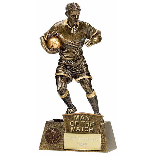 """Man Of The Match Rugby Player Pinnacle Trophy Antique Gold 22cm (8.75"""")"""