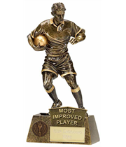 "Most Improved Player Rugby Pinnacle Trophy Antique Gold 22cm (8.75"")"