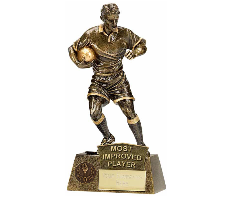 """Most Improved Player Rugby Pinnacle Trophy Antique Gold 22cm (8.75"""")"""