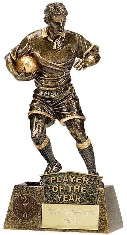 """Player Of The Year Rugby Player Pinnacle Trophy Antique Gold 22cm (8.75"""")"""