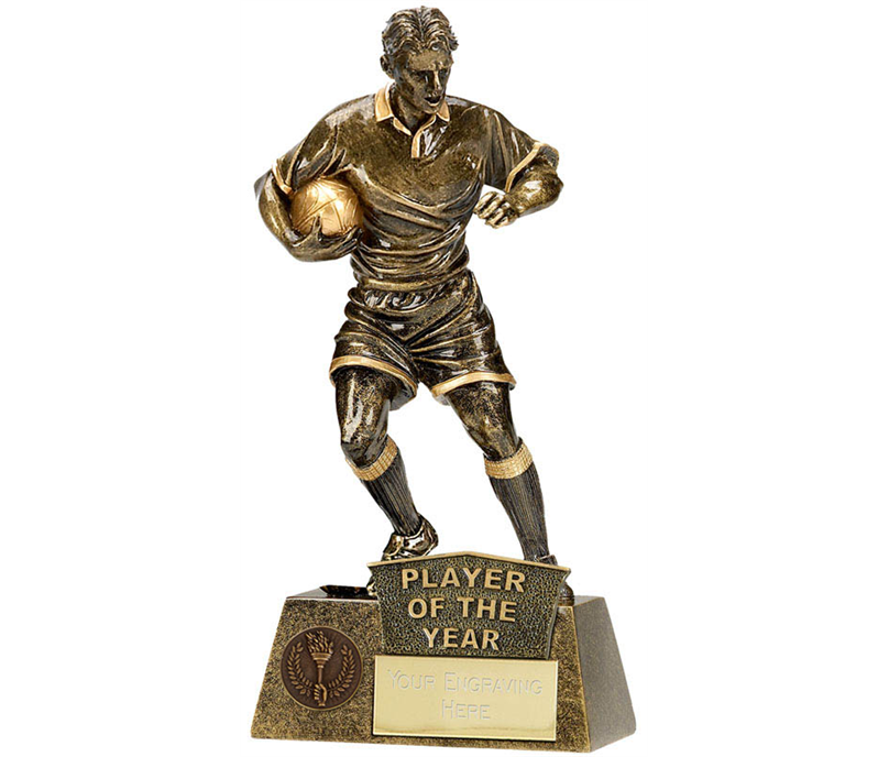 "Player Of The Year Rugby Player Pinnacle Trophy Antique Gold 22cm (8.75"")"