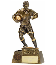 "Top Try Scorer Rugby Player Pinnacle Trophy Antique Gold 22cm (8.75"")"