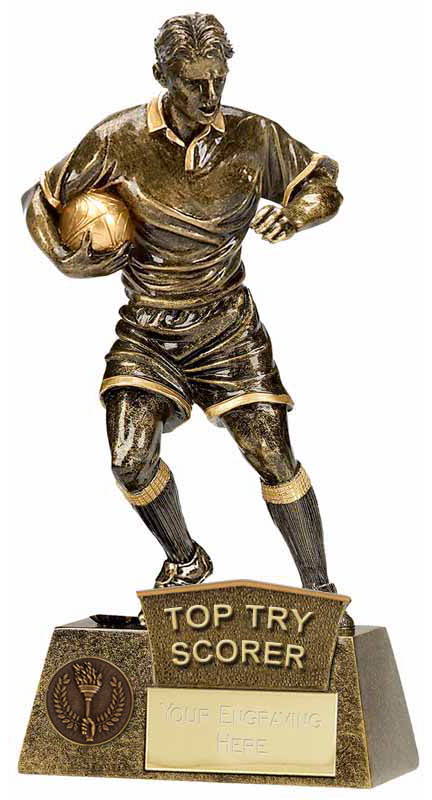 """Top Try Scorer Rugby Player Pinnacle Trophy Antique Gold 22cm (8.75"""")"""