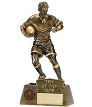 "Try Of The Year Rugby Player Pinnacle Trophy Antique Gold 22cm (8.75"")"