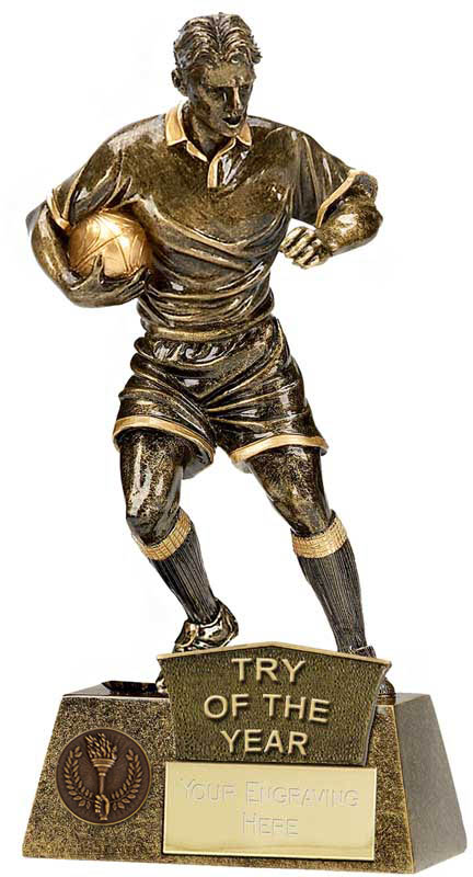 """Try Of The Year Rugby Player Pinnacle Trophy Antique Gold 22cm (8.75"""")"""