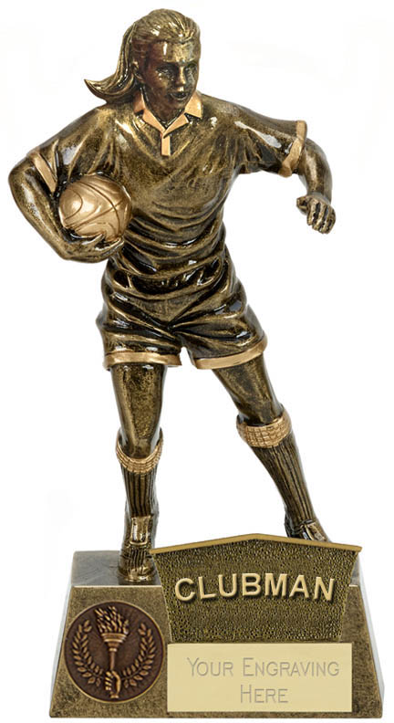 """Clubman Female Rugby Player Antique Gold Pinnacle Trophy 22cm (8.75"""")"""