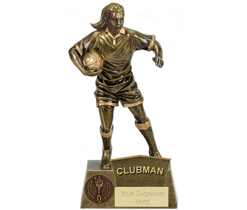 "Clubman Female Rugby Player Antique Gold Pinnacle Trophy 22cm (8.75"")"