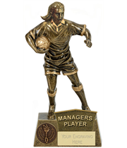 """Managers Player Female Rugby Player Antique Gold Pinnacle Trophy 22cm (8.75"""")"""
