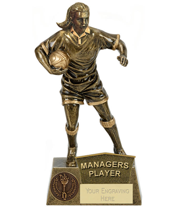 "Managers Player Female Rugby Player Antique Gold Pinnacle Trophy 22cm (8.75"")"