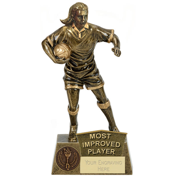 """Most Improved Player Female Rugby Player Antique Gold Pinnacle Trophy 22cm (8.75"""")"""