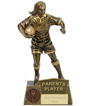 "Parents Player Female Rugby Player Antique Gold Pinnacle Trophy 22cm (8.75"")"