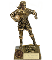 """Player Of The Year Female Rugby Player Antique Gold Pinnacle Trophy 22cm (8.75"""")"""
