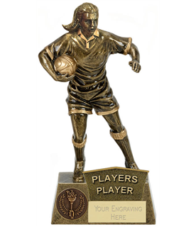 """Players Player Female Rugby Player Antique Gold Pinnacle Trophy 22cm (8.75"""")"""