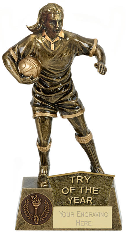 """Try Of The Year Female Rugby Player Antique Gold Pinnacle Trophy 22cm (8.75"""")"""