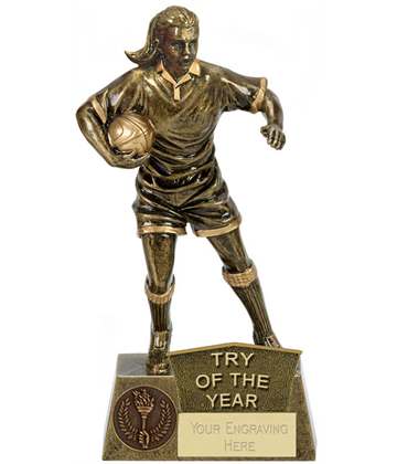 "Try Of The Year Female Rugby Player Antique Gold Pinnacle Trophy 22cm (8.75"")"