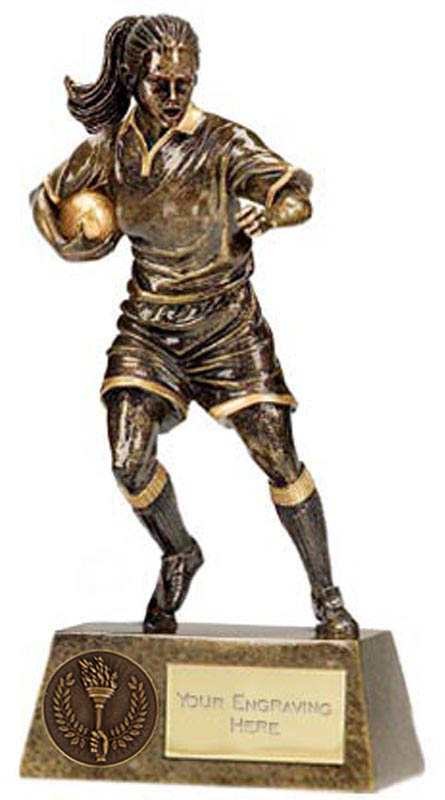"""Antique Gold Pinnacle Female Rugby Player Trophy 22cm (8.75"""")"""
