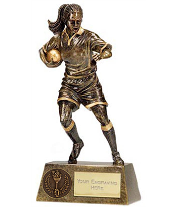 "Antique Gold Pinnacle Female Rugby Player Trophy 22cm (8.75"")"