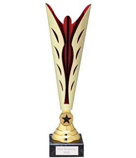 "Gold & Red Achievement Trophy Cup 35cm (13.75"")"