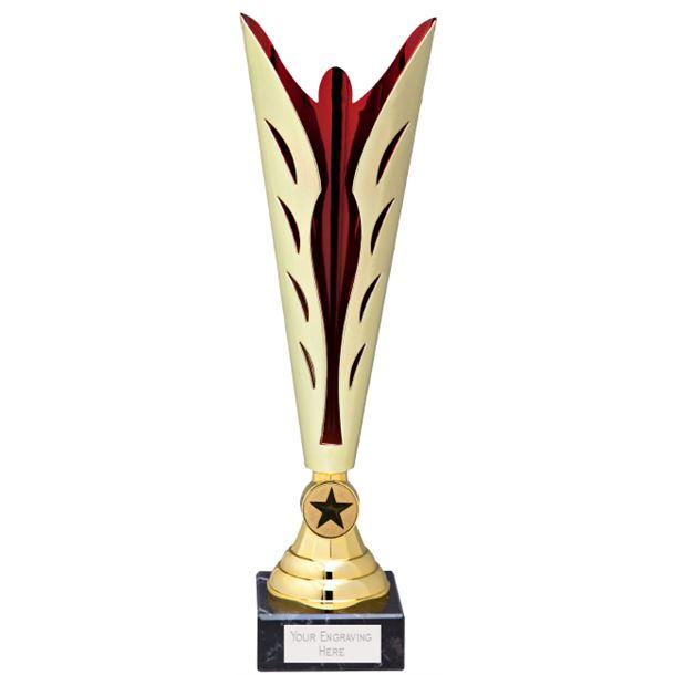 "Gold & Red Achievement Trophy Cup 35cm (13.75"")"