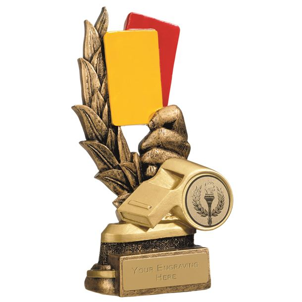 """Gold Referees Cards & Whistle Football Trophy 15cm (6"""")"""