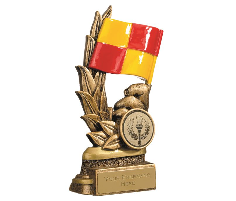 "Gold Linesmans Flag Football Trophy 14cm (5.5"")"