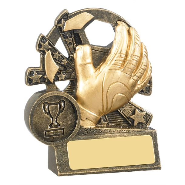 "Goalkeeper Glove & Star Football Trophy Antique Gold 9cm (3.5"")"