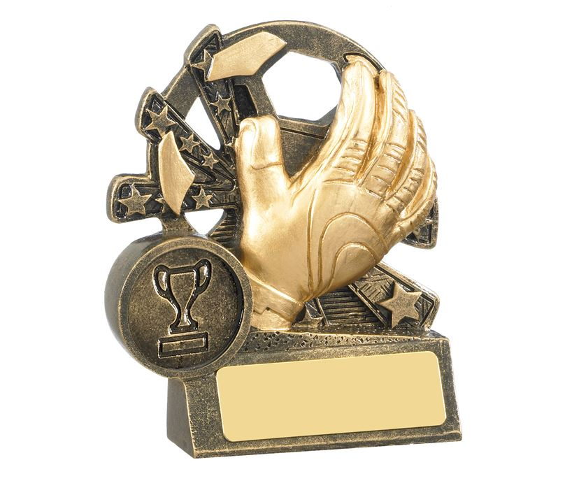 "Goalkeeper Glove & Star Football Trophy Antique Gold 9cm (3.5"")"