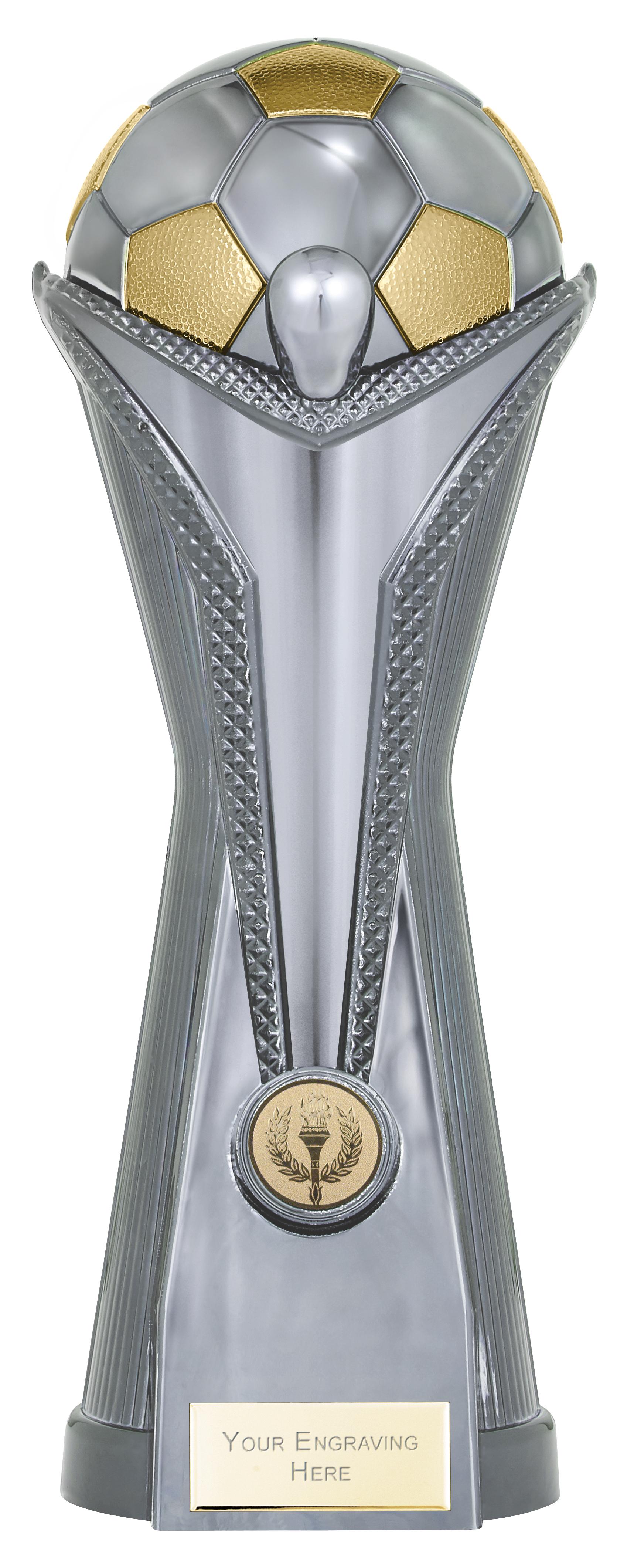 """World Football Cup Heavyweight Gunmetal Silver Trophy 30cm (11.75"""")"""