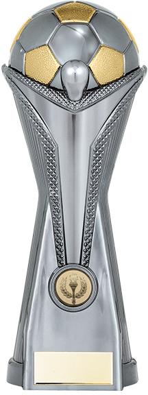 """World Football Cup Heavyweight Gunmetal Silver Trophy 26cm (10.25"""")"""