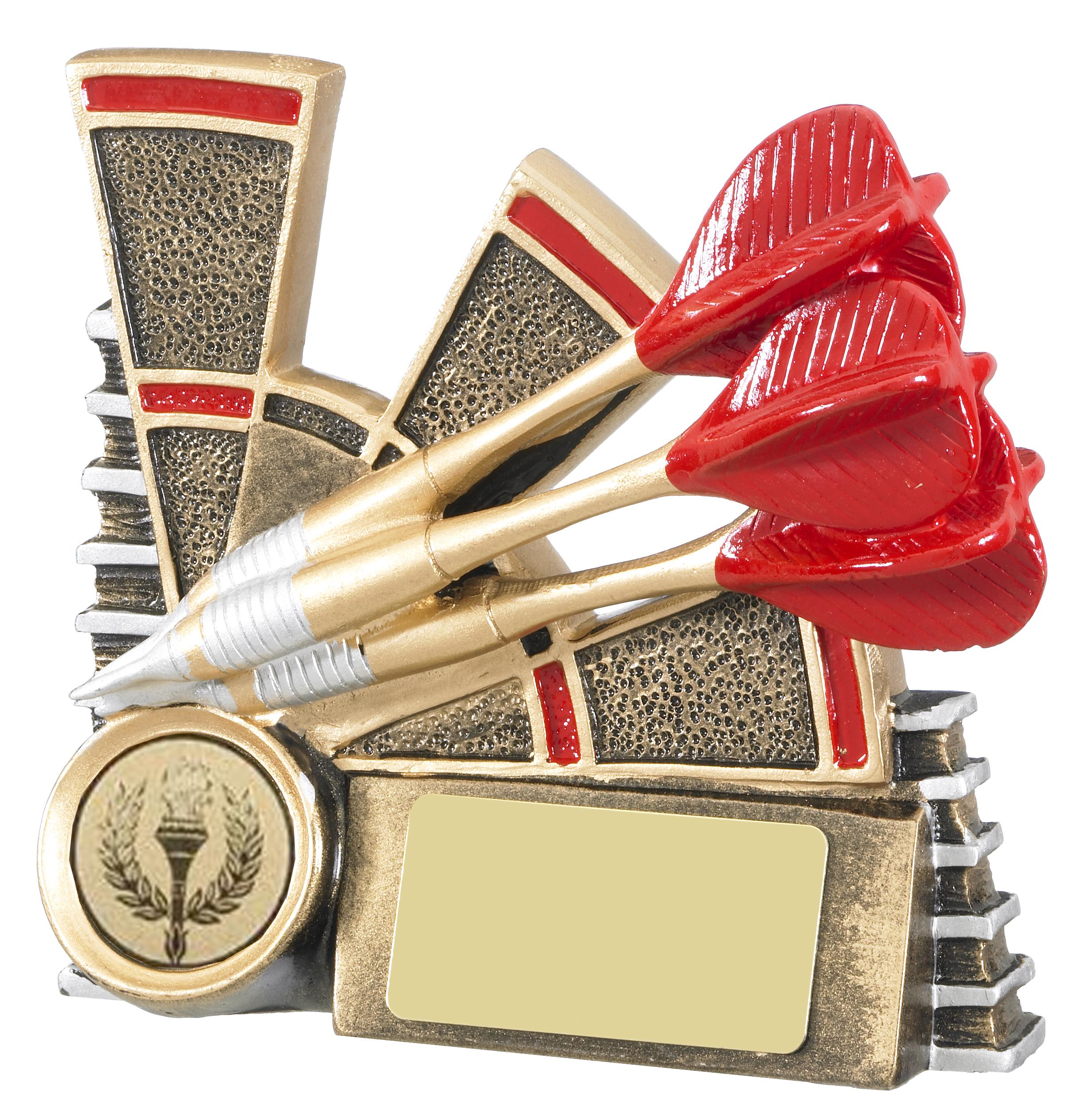 """Three Dart Antique Gold & Red Dart Trophy 12cm (4.75"""")"""