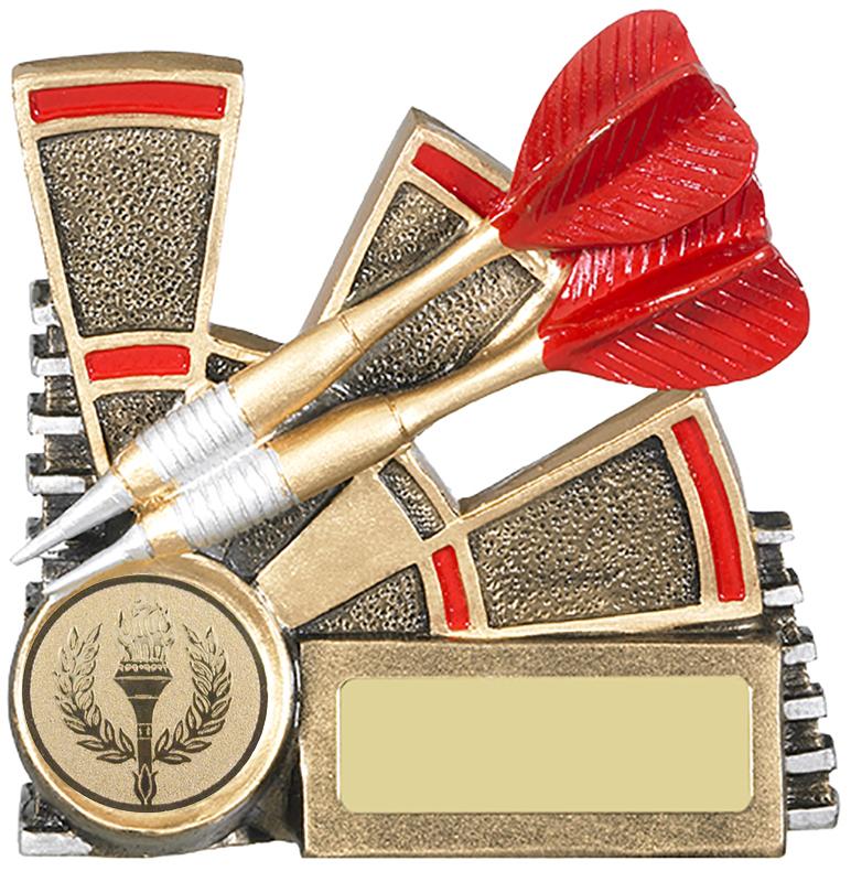 "Two Dart Antique Gold & Red Dart Trophy 11cm (4.25"")"