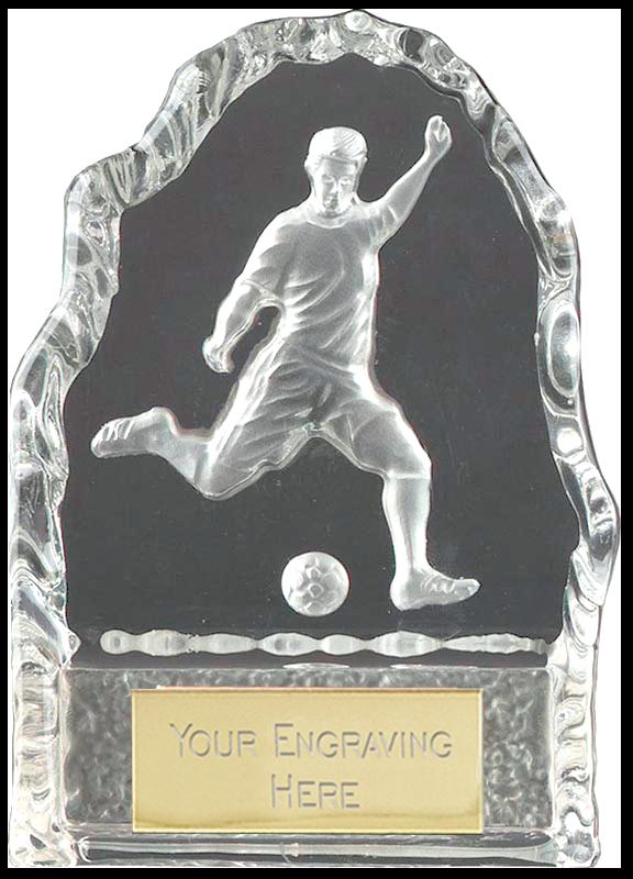"Football Player Iceberg Glass Award 11cm (4.25"")"