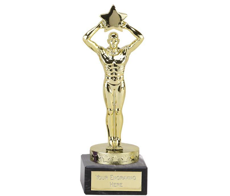 """Gold Star Achievement Statuette Trophy 18cm (7"""")"""