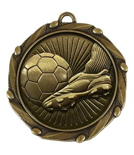 """Boot and Ball Antique Gold Medal With Red White & Blue Ribbon 45mm (1.75"""")"""
