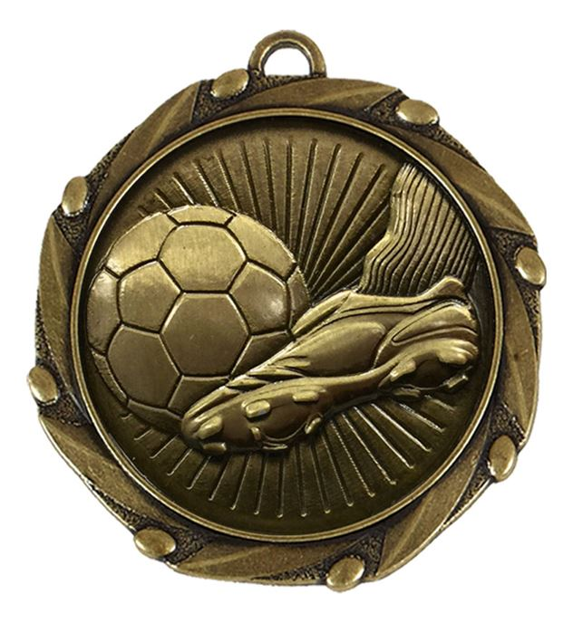 "Boot and Ball Antique Gold Medal With Red White & Blue Ribbon 45mm (1.75"")"