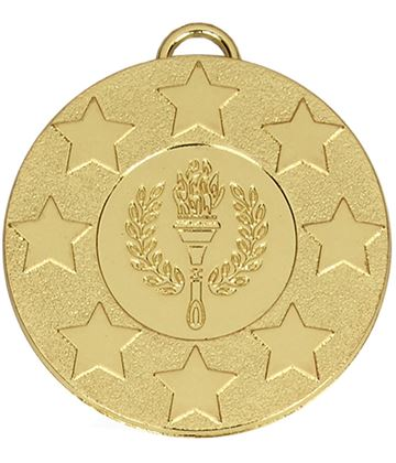 "Gold Stars & Victory Torch Medal with Red, White & Blue Ribbon 50mm (2"")"