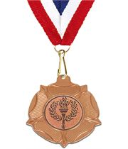 "Bronze Tudor Rose Medal with Centre Disc 50mm (2"")"