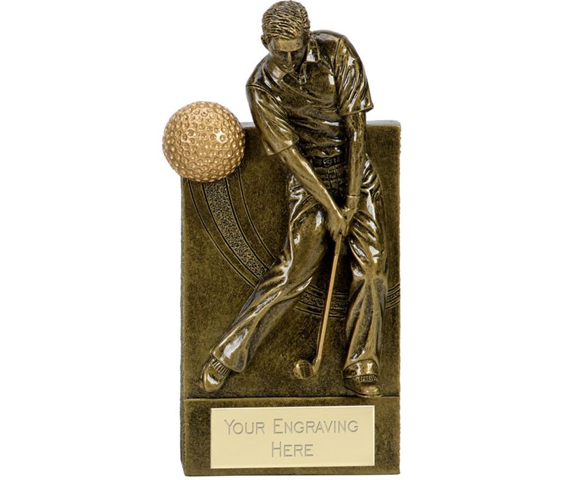 "Action Golfer With Golf Ball Wedge Award Antique Gold 16cm (6.25"")"