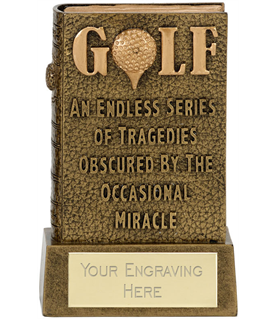 "3D Miracle Of Golf Book Award Antique Gold 12cm (4.75"")"