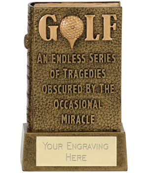"""3D Miracle Of Golf Book Award Antique Gold 12cm (4.75"""")"""