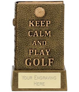 """Keep Calm 3D Golf Book Award Antique Gold 12cm (4.75"""")"""