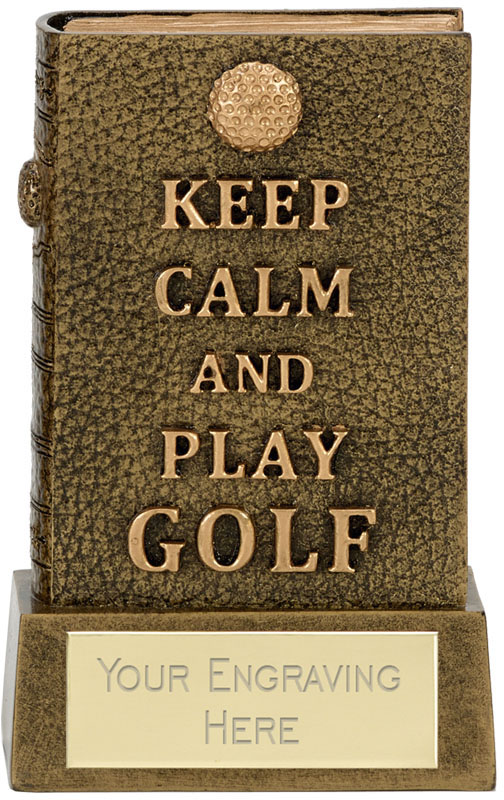 "Keep Calm 3D Golf Book Award Antique Gold 12cm (4.75"")"